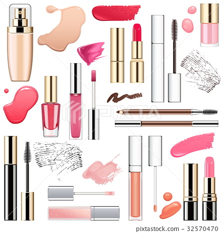Vector Makeup Cosmetics with Smears 32570470