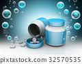Medicine bottle with tablet 32570535