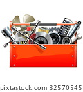 Vector Red Toolbox with Car Parts 32570545