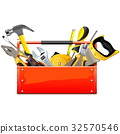 Vector Red Toolbox with Hand Tools 32570546