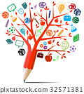 Red apple tree pencil with back to school concept 32571381