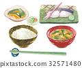 อาหารญี่ปุ่น,อาหารเช้า,พื้นหลังสีขาว 32571480