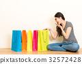 elegant girl happy to receive festive gifts 32572428