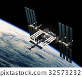 Flight Of International Space Station Over The 32573232