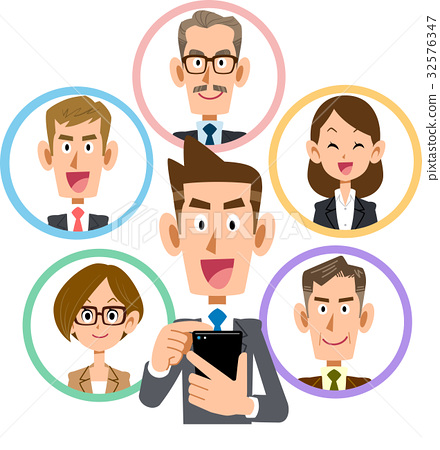 Business smartphone social network smile 32576347