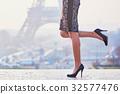 Woman walking near the Eiffel tower 32577476
