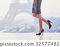 Woman walking near the Eiffel tower 32577482