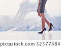 Woman walking near the Eiffel tower 32577484