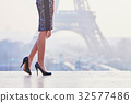 Woman walking near the Eiffel tower 32577486