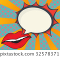 abstract woman lips with speech bubble comic book 32578371