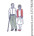 husband and wife, cane, walking sticks 32578828