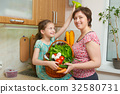 Mother and daughter with vegetables and  fruits 32580731