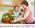 Mother and daughter with vegetables and  fruits 32580733