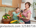 Mother and daughter with vegetables and  fruits 32580736