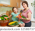 Mother and daughter with vegetables and  fruits 32580737