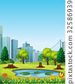 City scene with park and buildings 32586939