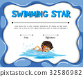 certification, template, swimming 32586982