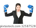 Boxing business woman showing aggressive 32587528