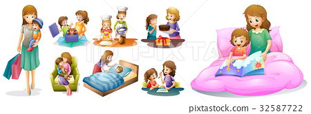 Mother and kids in different actions 32587722