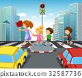 Children crossing street in city 32587736