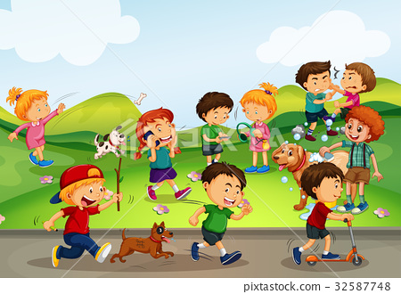 Many kids playing in the field 32587748