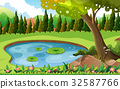 Scene with pond in the field 32587766