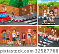 Four city scenes with young hipsters 32587768