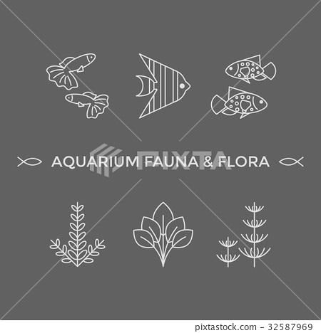 Thin line vector icons - aquarium flora and fauna 32587969