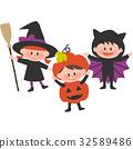 打扮万圣节的孩子们 32589486