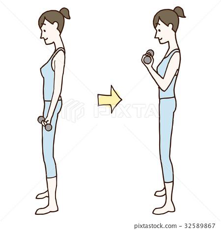 鍛煉肌肉 肌肉練習 啞鈴 32589867