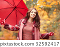 season and people concept - beautiful happy young woman walking 32592417