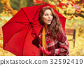 season and people concept - beautiful happy young woman walking 32592419