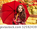 season and people concept - beautiful happy young woman walking 32592439