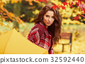 season and people concept - beautiful happy young woman walking 32592440