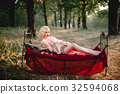 Beautiful and elegant blonde woman with red lips 32594068