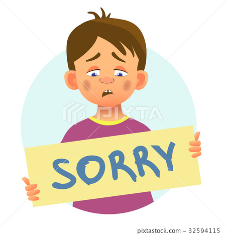 Boy with word sorry 32594115