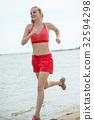 beach, female, jogging 32594298