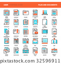 Files and documents flat line icons 32596911
