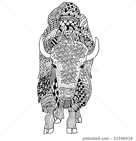 Bison hand drawn. Doodle. Object isolated on white 32596918