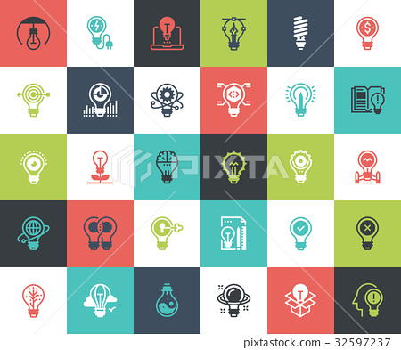 Light bulbs icons 32597237