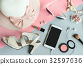 women cosmetics and fashion items with copy space 32597636