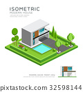 Modern home isometric with lawn 32598144