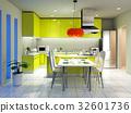 廚房 餐桌 室內裝飾 32601736
