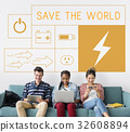 People with energy saving sustainability power generation campaign 32608894