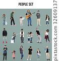 Diverse of People Enjoy Music Lifestyle Studio Isolated 32609137