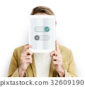 Man holding network graphic overlay digital device 32609190