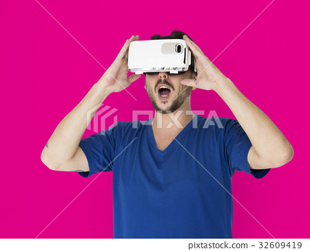 A man using a visualiaing reality gadget 32609419