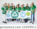 Group of Diverse People Showing Recycle Sign Eco Friendly Save Earth Word Graphic 32609911