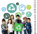 Little Kids with Recycle Sign Eco Friendly Save Earth Word Graphic 32610221