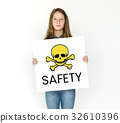 People holding placard with skull icon and chemicals dangerous 32610396